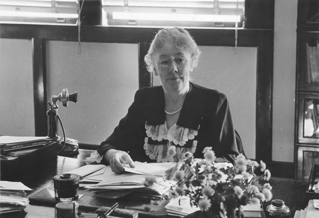 Alice Mary Baldwin in an office